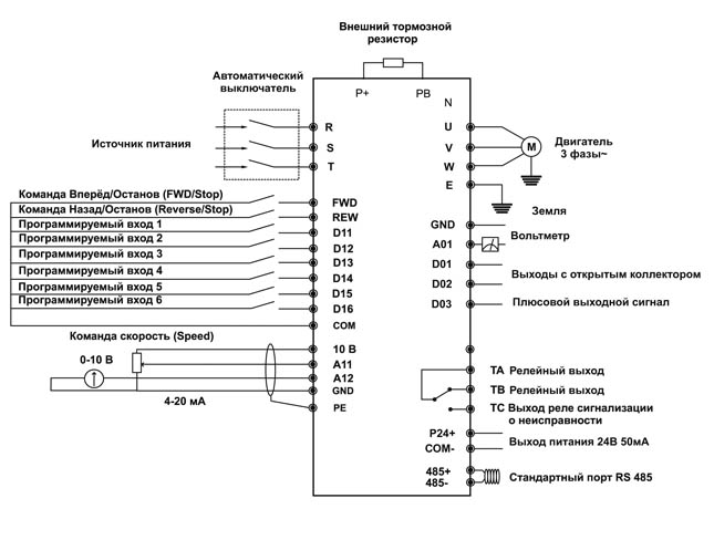 Подключение преобразователя давления к частотному преобразователю